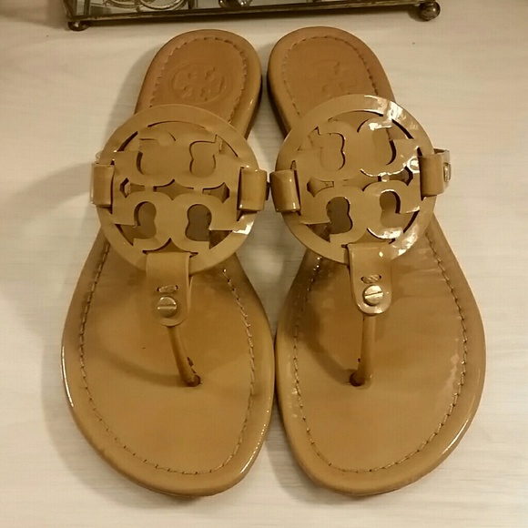 c2c88f9b8627bd Tory Burch Shoes - Tory Burch Miller Sandals in Patent Leather Sand